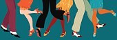 Line of men and women legs in 1920s style footwear dancing the Charleston, vector illustration, no transparencies, EPS 8