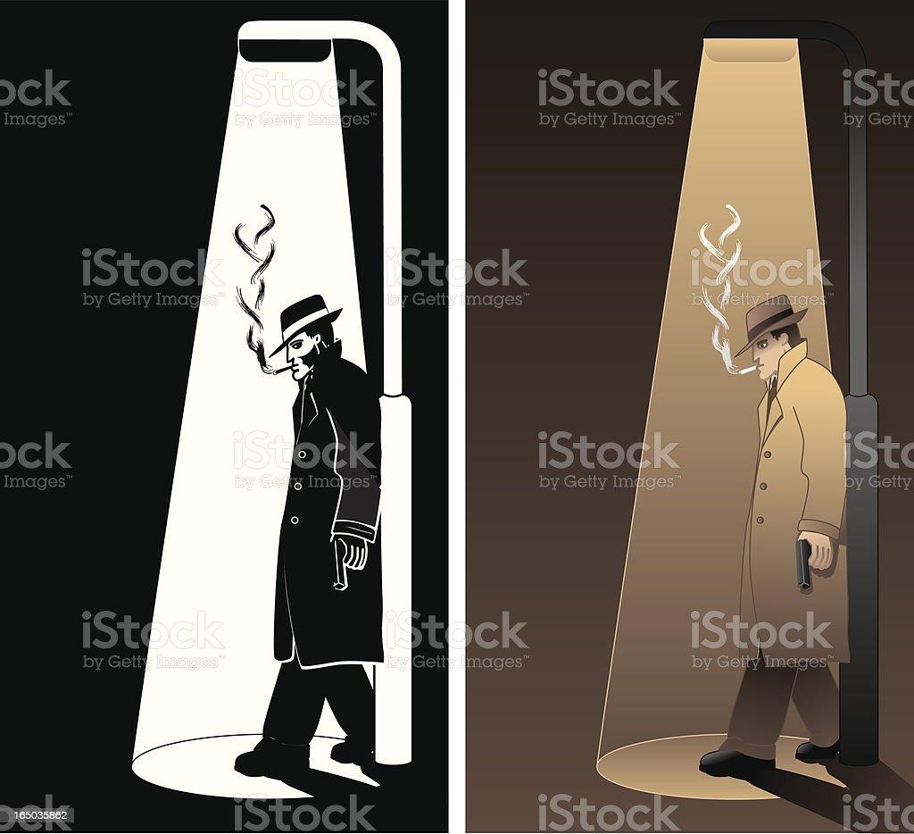 1940s/50s film noir Detective vector illustration royalty-free stock vector art