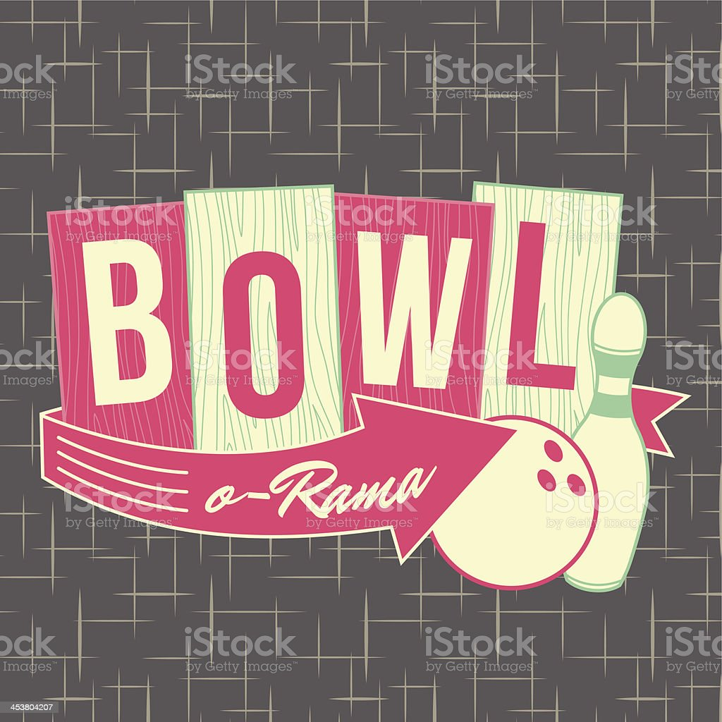 1950s Bowling Style Logo Design vector art illustration