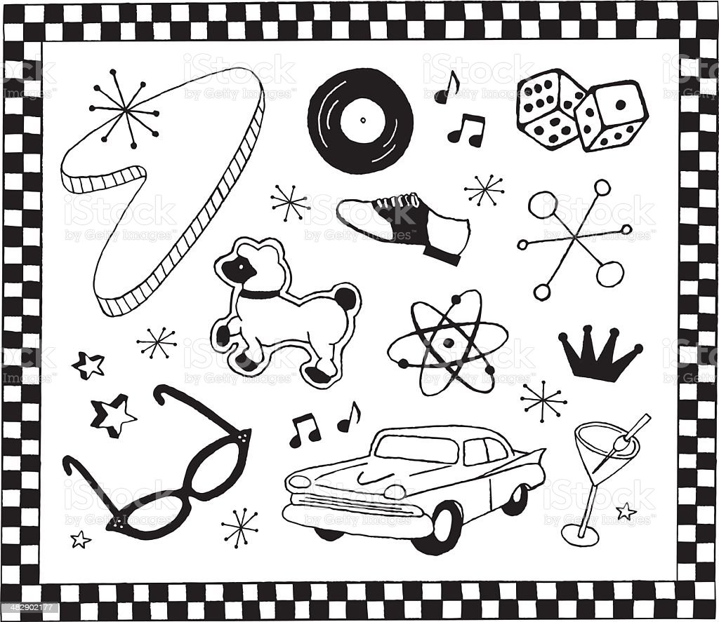 1950s Doodles royalty-free 1950s doodles stock illustration - download image now