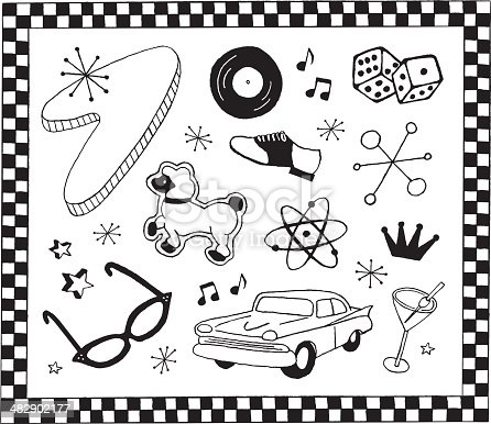 1950s Doodles Stock Vector Art Amp More Images Of 1950 1959