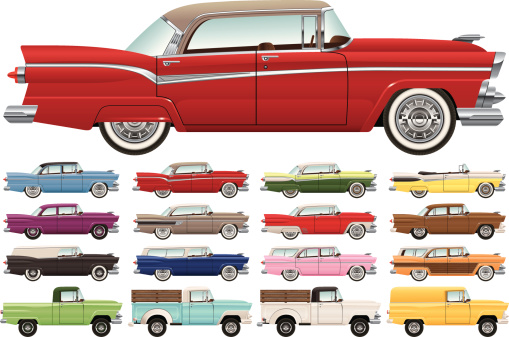 Detailed vector drawing of a 1950s era car lineup, including sedans, coupes, hardtops, trucks, wagons, a van and a convertible.