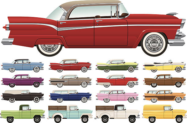 1950s era car lineup - 1950s style stock illustrations, clip art, cartoons, & icons