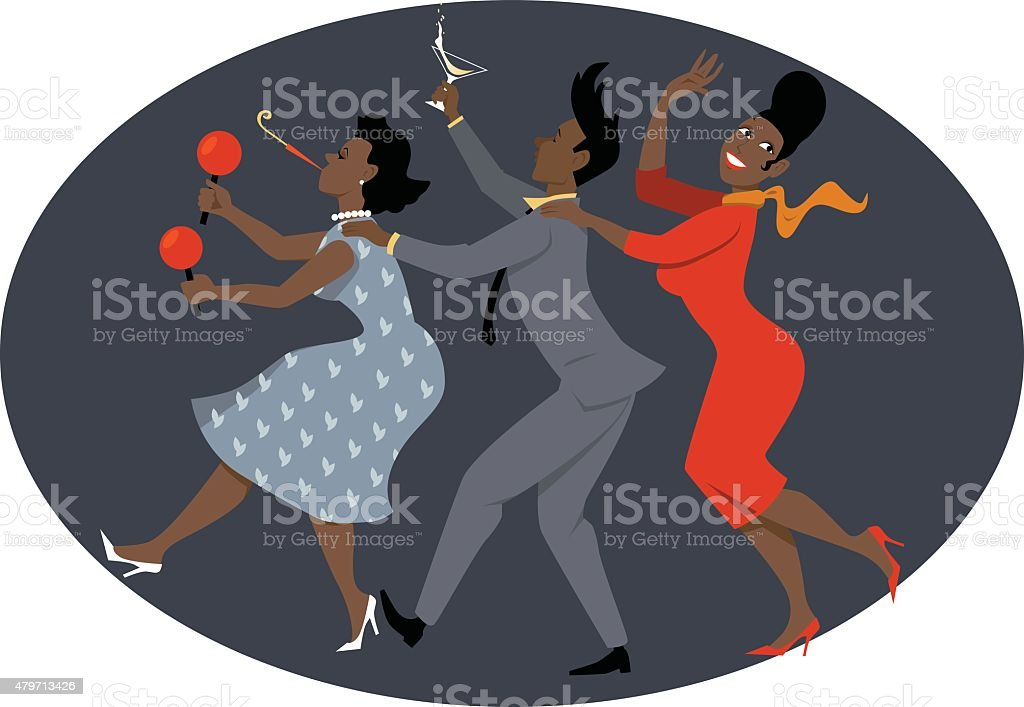1950s party vector art illustration