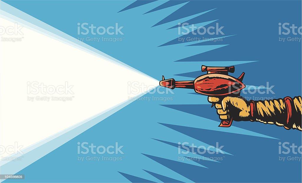 1950s Ray gun firing royalty-free stock vector art