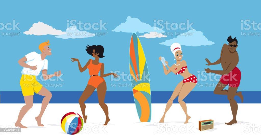 1960s beach party vector art illustration