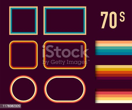 1970s Style Museum Picture Frames Vector Set. Trendy 1970s, Old Fashioned Artistic Decorative Borders. Vector stock illustration.