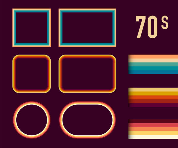 stockillustraties, clipart, cartoons en iconen met jaren 1970 stijl museum foto frames vector set. trendy jaren 1970, ouderwetse artistieke decoratieve randen. vector illustratie. - seventies