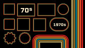 1970s Style Museum Picture Frames Vector Set. Trendy 1970s, Old Fashioned Artistic Decorative Borders. Retro Background With Multicolored Lines, Geometric Shapes. 70s Flat Illustration With Copyspace