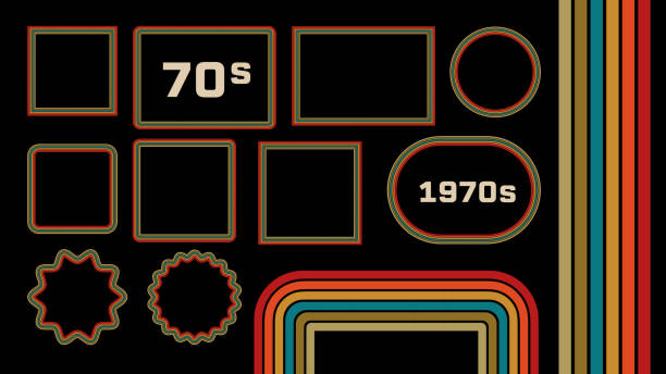 1970s style museum picture frames vector set - dyskoteka stock illustrations