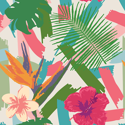1980s Casual Brushy Tropical Plant and Flower Seamless Pattern