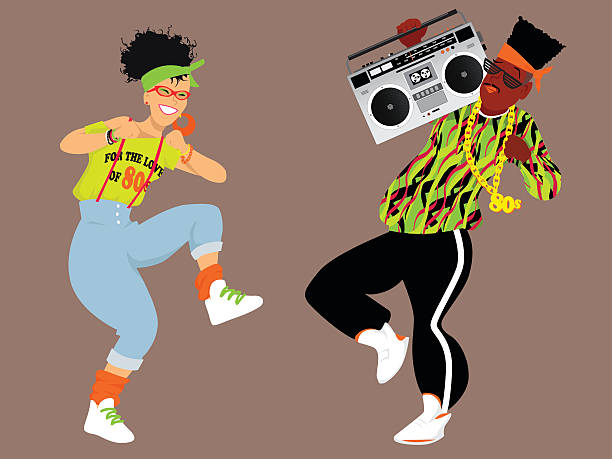 1980 er hip-hop - neonhosen stock-grafiken, -clipart, -cartoons und -symbole