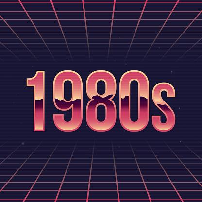 1980s logo. 80's style label with Chromium effect. Retro logo design. Retrowave print for t-shirt, typography. Vector illustration