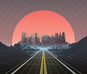 1980s Style retro background with city at sunset. Abstract technology background. Digital Landscape.