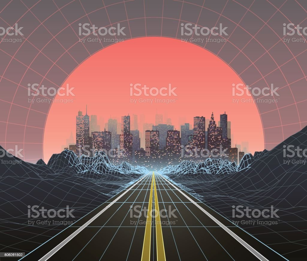 1980s Style Retro Digital Landscape with City at Sunset vector art illustration
