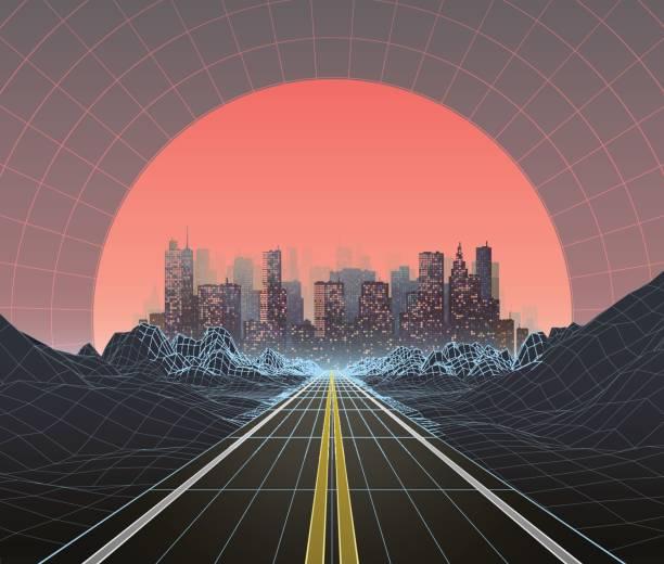 années 1980 style rétro paysage numérique avec la ville au coucher du soleil - Illustration vectorielle