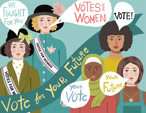 Women's votes. Hand drawn in flat color. Hand drawn lettering. Comes with a high resolution jpeg.