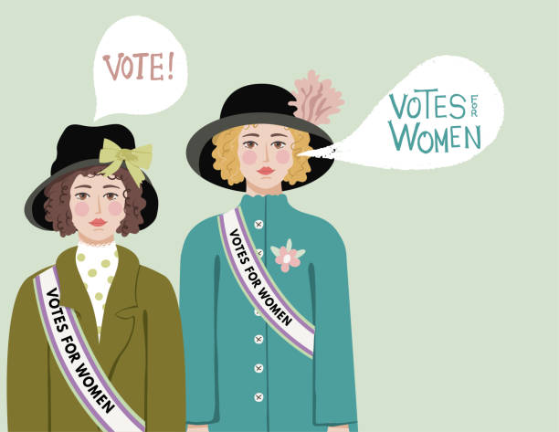 19th Amendment Vote Women's votes. Hand drawn in flat color. Hand drawn lettering. Comes with a high resolution jpeg. suffragist stock illustrations