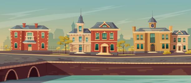 bildbanksillustrationer, clip art samt tecknat material och ikoner med stadsgata från 1800-talet med europeiska byggnader - gränd