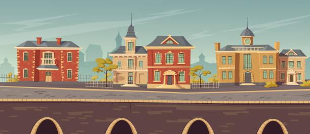 bildbanksillustrationer, clip art samt tecknat material och ikoner med 1800-talsstadgata med europeiska byggnader - gränd