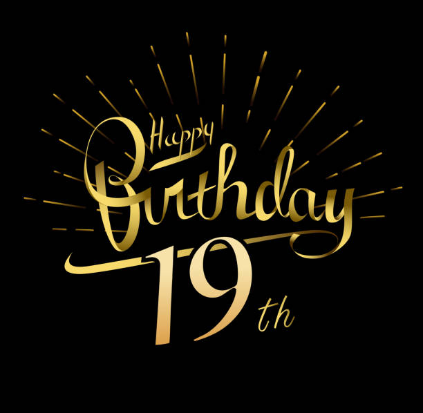 Royalty Free 19th Birthday Background Clip Art Vector Images
