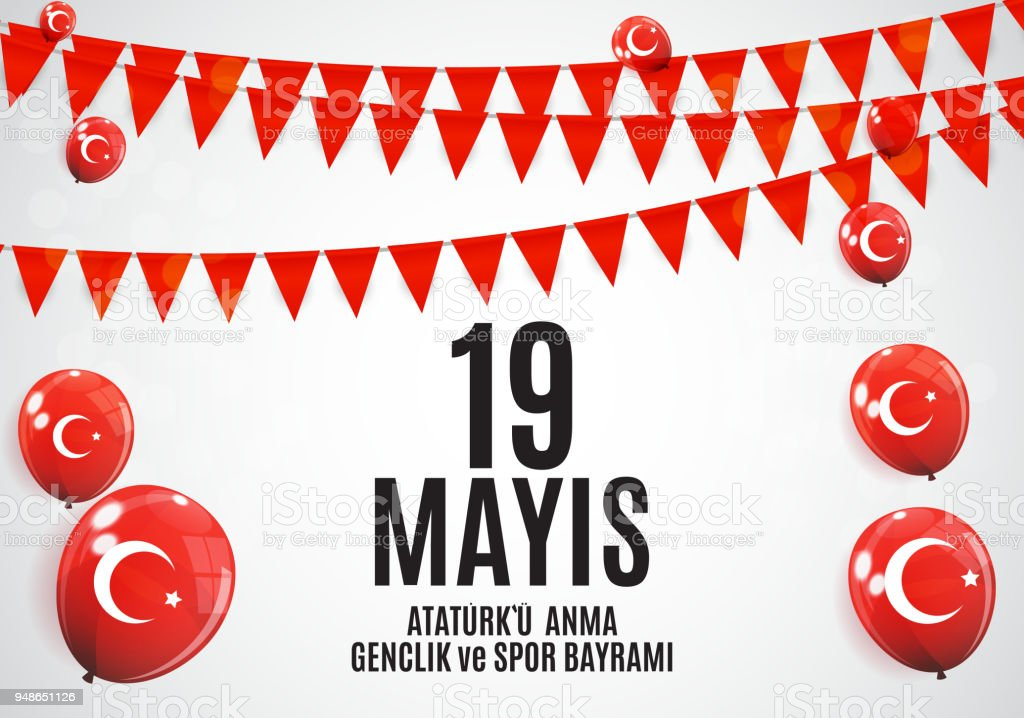 19th may commemoration of Ataturk, youth and sports day (Turkish Speak: 19 mayis Ataturk'u anma, genclik ve spor bayrami).  Turkish holiday greeting card. Vector Illustratio vector art illustration