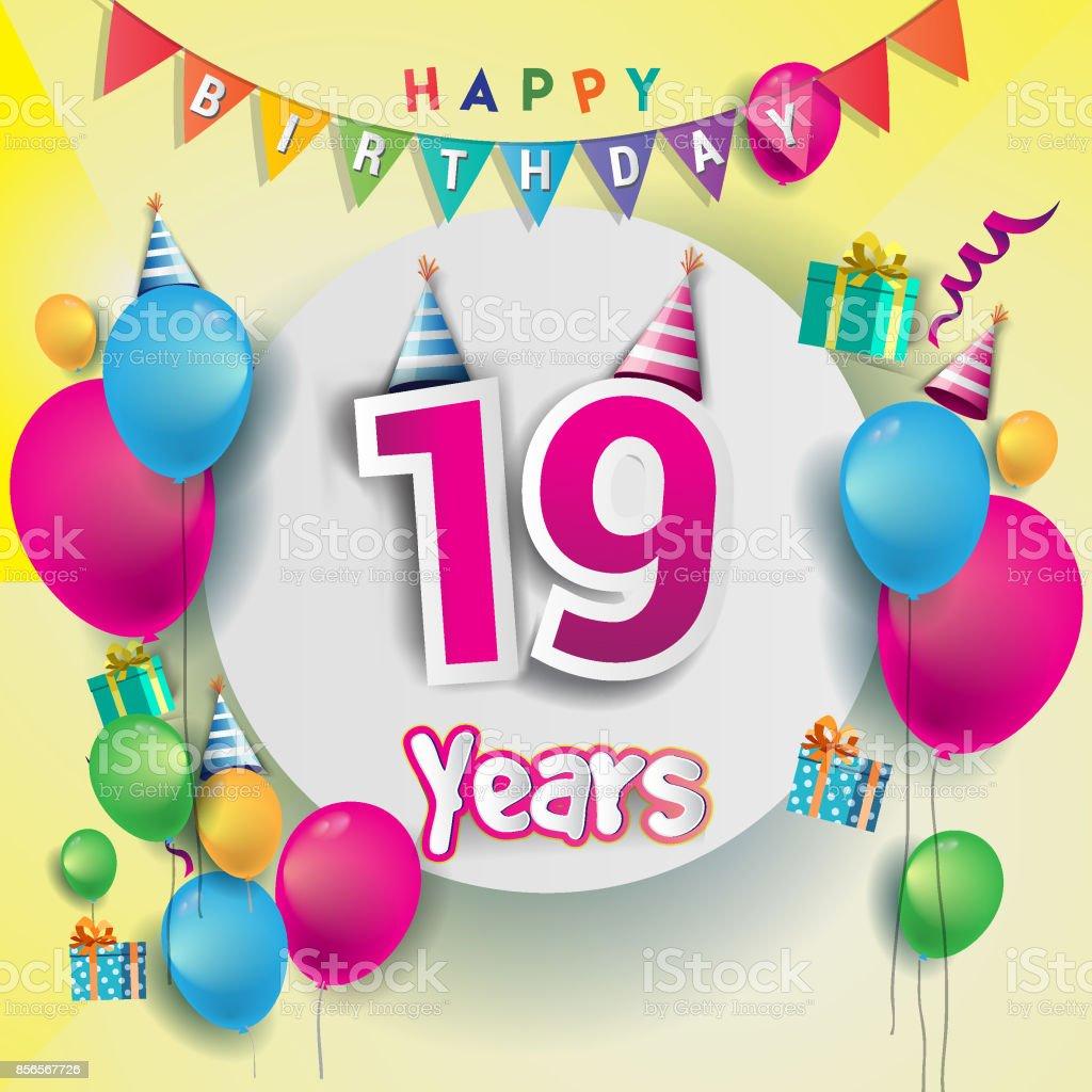 e födelsedagskort 19 E år Anniversary Celebration Födelsedagskort Eller  e födelsedagskort