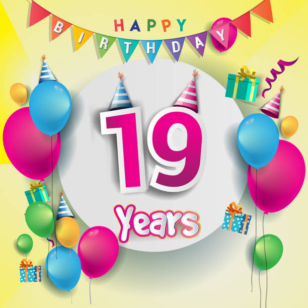 19th Years Anniversary Celebration Birthday Card Or Greeting Design With Gift Box And Balloons