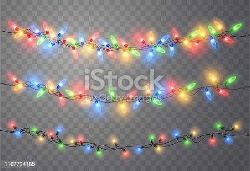 Christmas lights isolated on transparent background. Colorful bright Xmas garland. Vector red, yellow, blue and green glow light bulbs on wire strings. Vector template