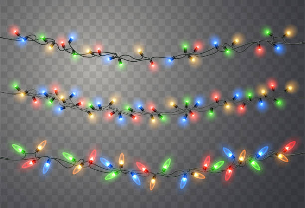 1clights Christmas lights set. Vector New Year decorate garland with glowing light bulbs. holiday background stock illustrations