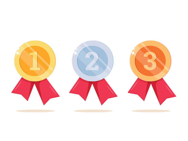1st, 2nd and 3rd places. Gold, silver, bronze medal. First, second, third place. Award winner. Trophy with red ribbon. 1st, 2nd and 3rd places. Gold, silver, bronze medal. First, second, third place. Award winner. Trophy with red ribbon. Golden badge for achievement. Vector flat design. Isolated on white background. gezond stock illustrations