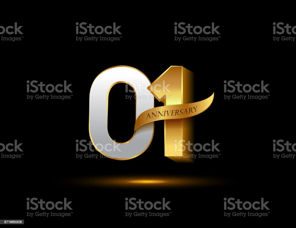 St anniversary glowing logotype with ribbon golden colored
