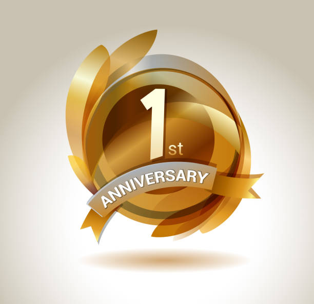 ilustrações de stock, clip art, desenhos animados e ícones de 1st anniversary ribbon logo with golden circle and graphic elements - um animal