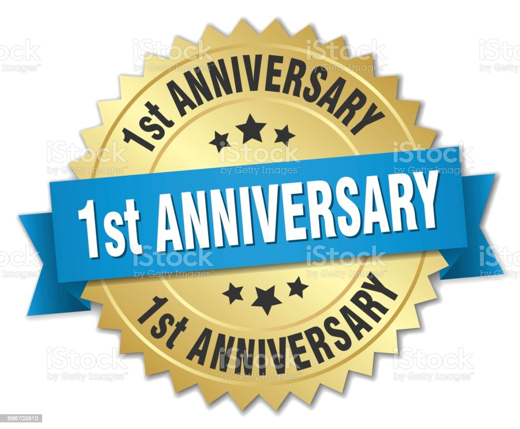 1st anniversary round isolated gold badge vector art illustration