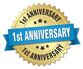 1st anniversary round isolated gold badge