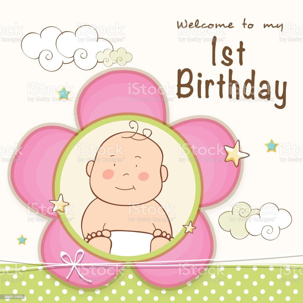 1st Birthday Invitation Card Design Stock Illustration