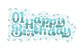 1st Happy Birthday lettering, 1 year Birthday beautiful typography design with aqua dots, lines, and leaves.