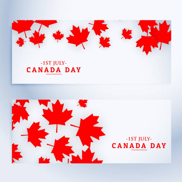 1st july canada day banners - canada day stock illustrations