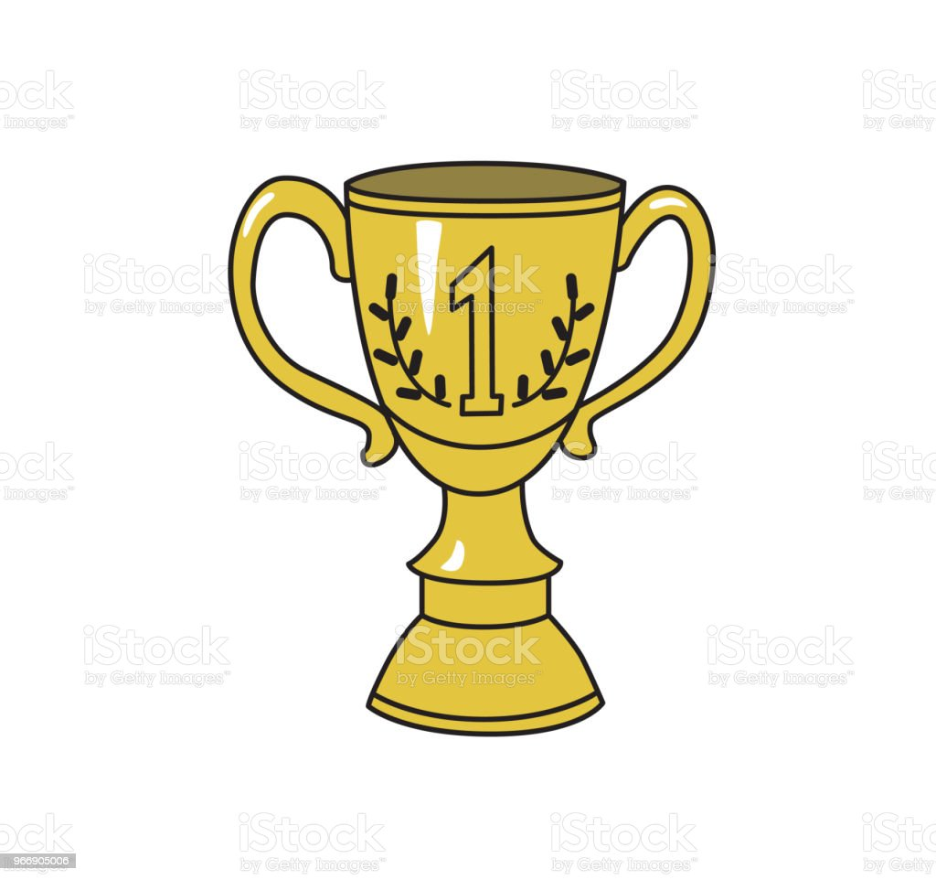 1st prize trophy cup. Achivement symbol, icon. Colored line vector illustration. Isolated on white background vector art illustration