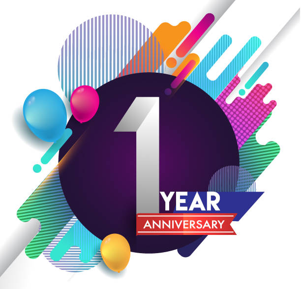 1st year Anniversary icon with colorful abstract background, vector design template elements for invitation card and poster your birthday celebration. vector art illustration