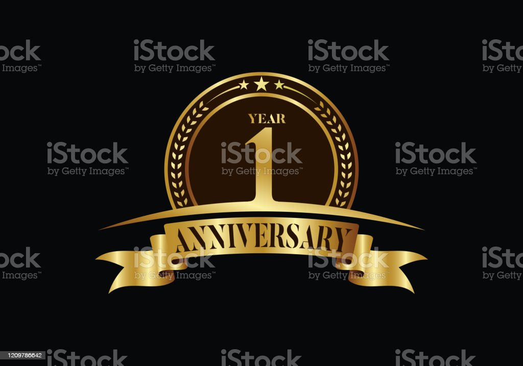 1st year anniversary logo template vector design birthday celebration golden anniversary emblem with ribbon stock illustration download image now istock 1st year anniversary logo template vector design birthday celebration golden anniversary emblem with ribbon stock illustration download image now istock