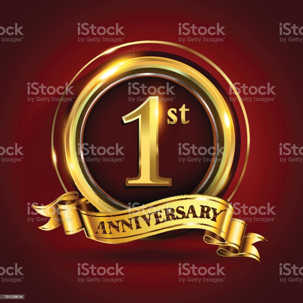 1st year anniversary logo with gold ring and golden ribbon vector design stock illustration download image now istock 1st year anniversary logo with gold ring and golden ribbon vector design stock illustration download image now istock