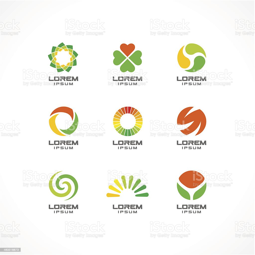 1.\tSet of icon design elements. Abstract logo ideas for business vector art illustration