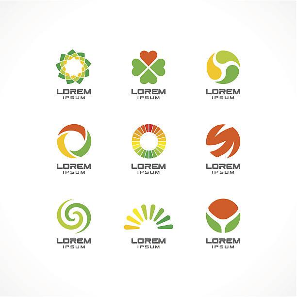 ilustrações, clipart, desenhos animados e ícones de 1. ícone conjunto de elementos de design. fundo do logotipo ideias para negócios - medicina alternativa