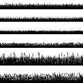 Grass border silhouettes. Black grass silhouettes, natural environment herb borders, grass panorama. Landscape lawn elements isolated symbols set. Illustration grass border, plant summer line