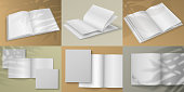 Realistic magazine. Blank white brochure mockup on colored background with shadow overlay effect. Vector illustration empty isolated white sheet for design visualization booklet or catalogs