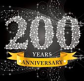 A vector illustration to show 200th Anniversary in black background