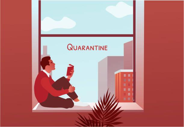 illustrazioni stock, clip art, cartoni animati e icone di tendenza di 2019-ncov quarantine. man reading book near the window. lockdown at home. - lockdown