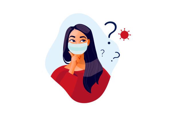 illustrazioni stock, clip art, cartoni animati e icone di tendenza di quarantena 2019-ncov. uomo triste con maschera protettiva sullo schermo del telefono. - incertezza