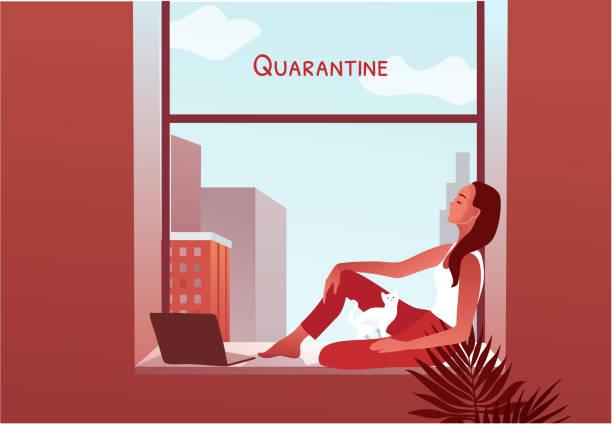 illustrazioni stock, clip art, cartoni animati e icone di tendenza di 2019-ncov quarantine. woman looking through the window - lockdown